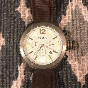 Vintage bronze toned watch with canvas band
